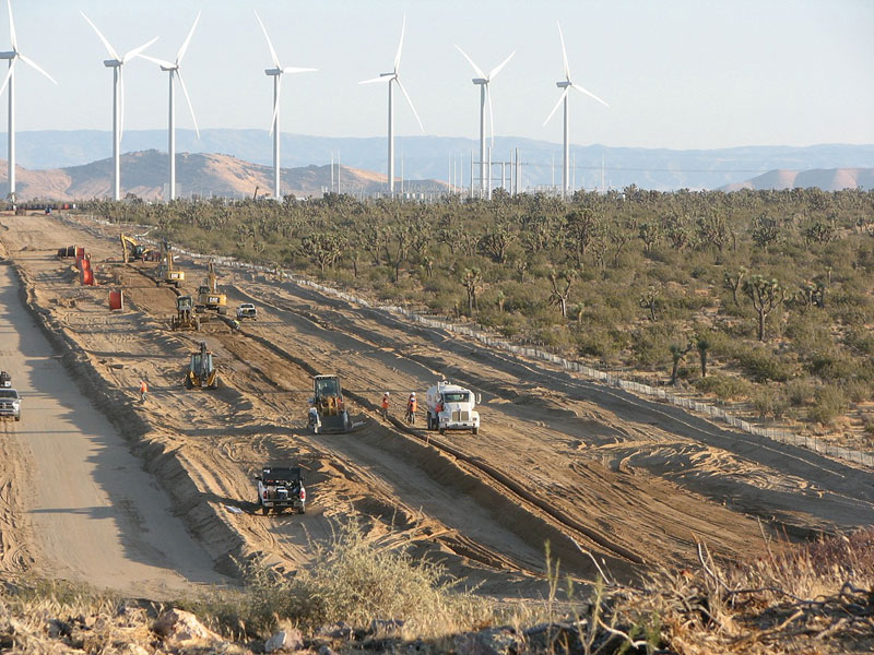 Construction In The Mojave Desert And Grassland Wind Energy